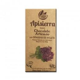 Tableta Chocolate Artesano con Grageas de Violetas 115gr